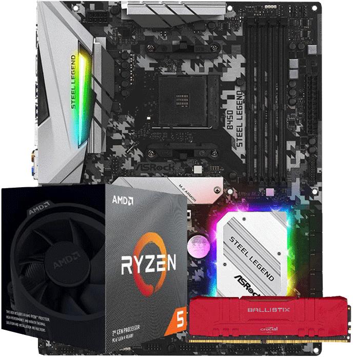 KIT UPGRADE PROCESSADOR AMD RYZEN 5 3600X / PLACA MÃE ASROCK B450 STEEL LEGEND / MEMORIA BALLISTIX 8GB 3000MHZ