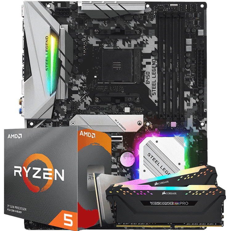 KIT UPGRADE PROCESSADOR AMD RYZEN 5 3600X / PLACA MÃE ASROCK B450 STEEL LEGEND / MEMORIA CORSAIR VENGEANCE PRO RGB 2x8GB 2666MHZ