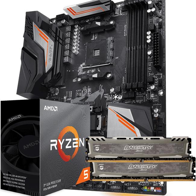 KIT UPGRADE PROCESSADOR AMD RYZEN 5 3600X / PLACA MÃE GIGABYTE X470 AORUS ULTRA GAMING / MEMÓRIA BALLISTIX SPORT 2x8GB 3000MHZ
