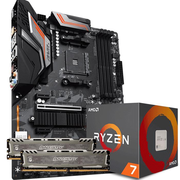 KIT UPGRADE PROCESSADOR AMD RYZEN 7 2700 / PLACA MÃE GIGABYTE X470 AORUS ULTRA GAMING / MEMÓRIA BALLISTIX SPORT 2x8GB 3000MHZ