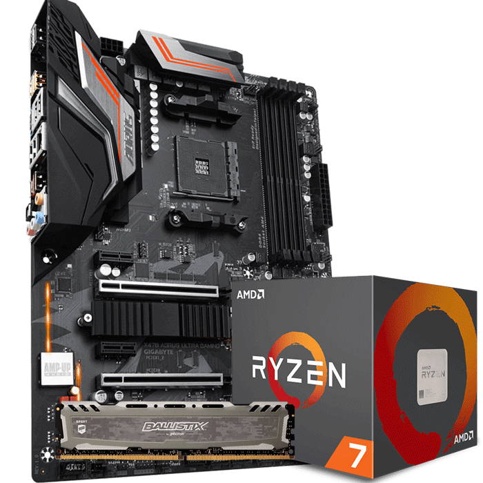 KIT UPGRADE PROCESSADOR AMD RYZEN 7 2700 / PLACA MÃE GIGABYTE X470 AORUS ULTRA GAMING / MEMÓRIA BALLISTIX SPORT 8GB 3000MHZ