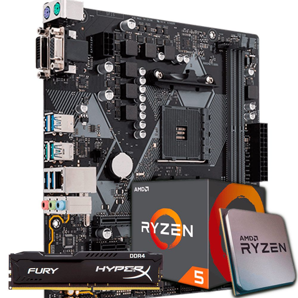 KIT UPGRADE RYZEN 5 2600 / ASUS B450M-K / 8GB 2400MHZ HYPERX