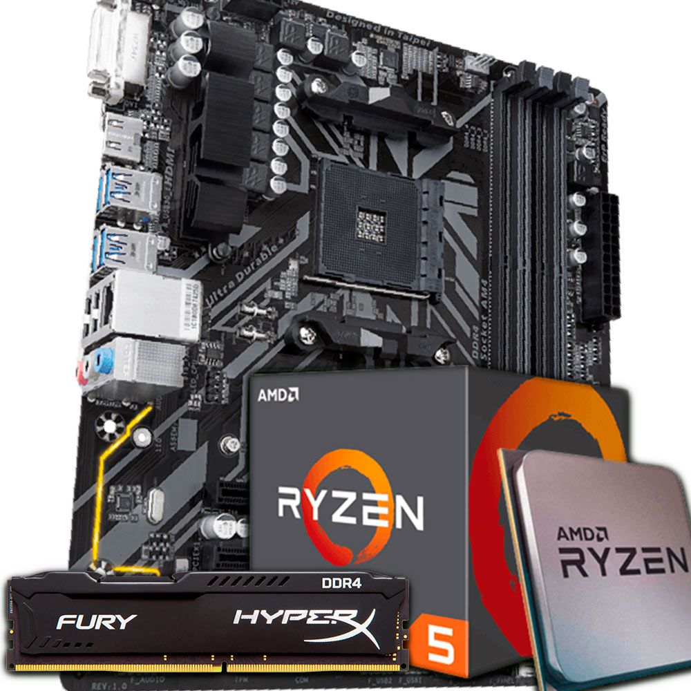 KIT UPGRADE RYZEN 5 2600 / B450M DS3H / 8GB 2400MHZ HYPERX