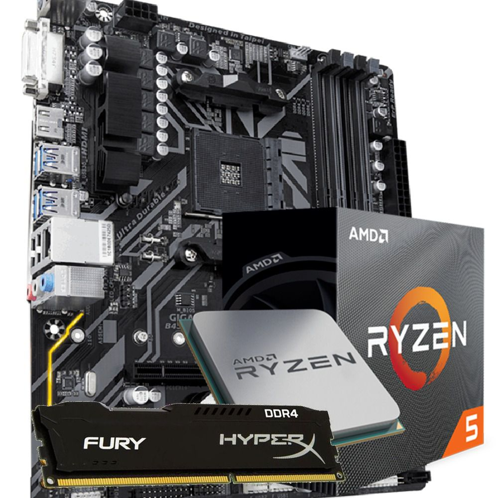 Kit Upgrade Ryzen 5 3600 / B450M DS3H / 8GB Hyperx 2400mhz