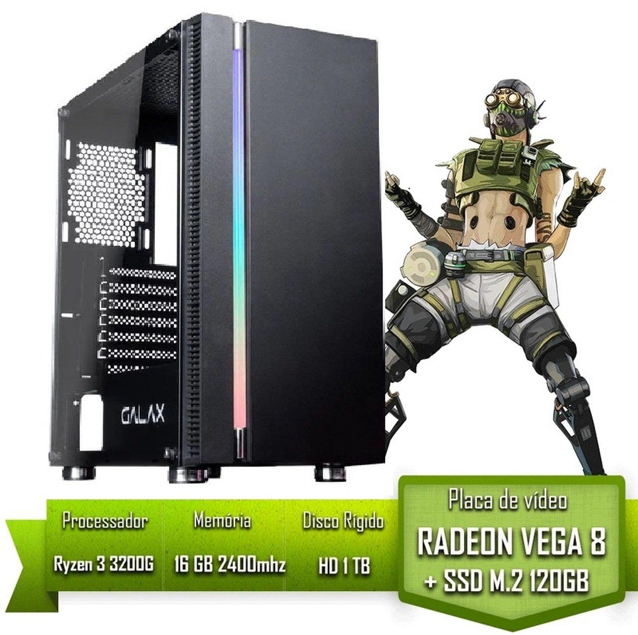 PC GAMER ALLIGATOR GAMING AMD RYZEN 3 3200G / 16GB 2400MHZ / SSD 120GB M.2 /HD 1TB