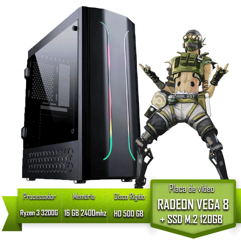 PC GAMER AMD RYZEN 3 3200G / 16GB 2400MHZ / SSD 120GB M.2 /HD 500GB