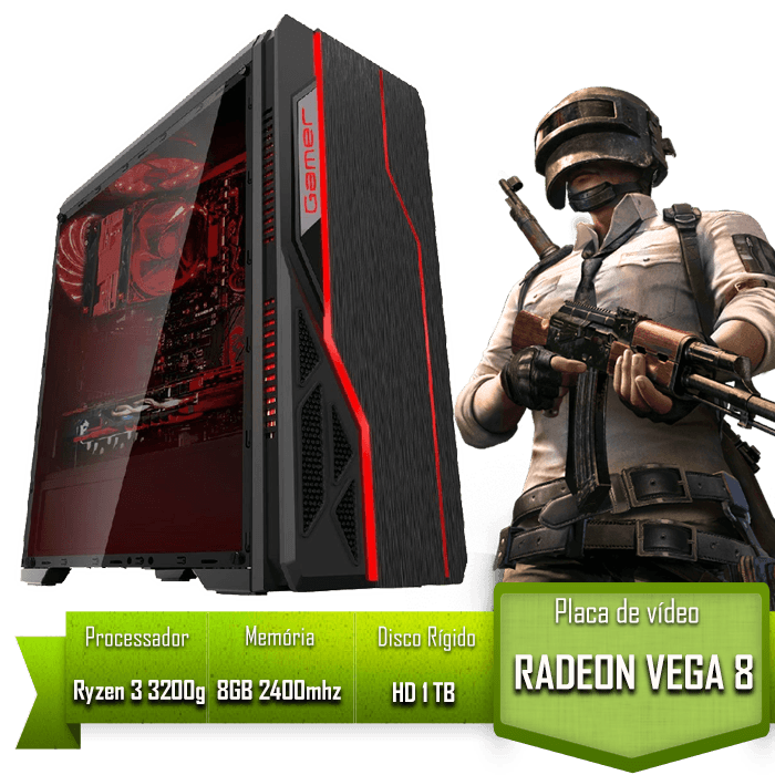 PC GAMER ALLIGATOR GAMING AMD RYZEN 3 3200G / 8GB 2400MHZ /HD 1TB