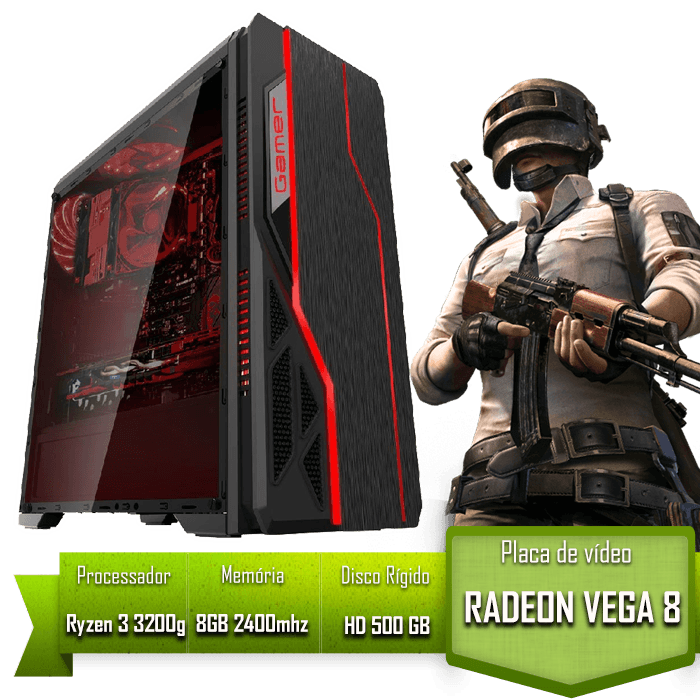 PC GAMER ALLIGATOR GAMING AMD RYZEN 3 3200G / 8GB 2400MHZ /HD 500GB