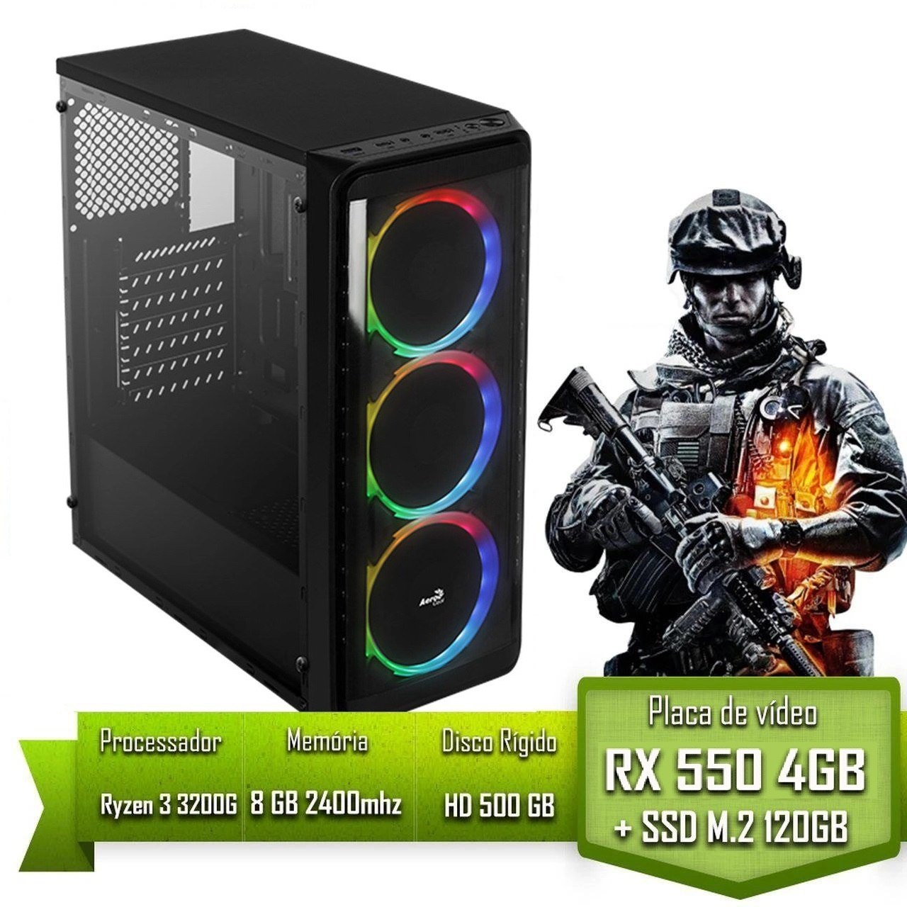 PC GAMER ALLIGATOR GAMING AMD RYZEN 3 3200G / 8GB 2400MHZ / RX 550 4GB / SSD 120GB M.2 /HD 500GB