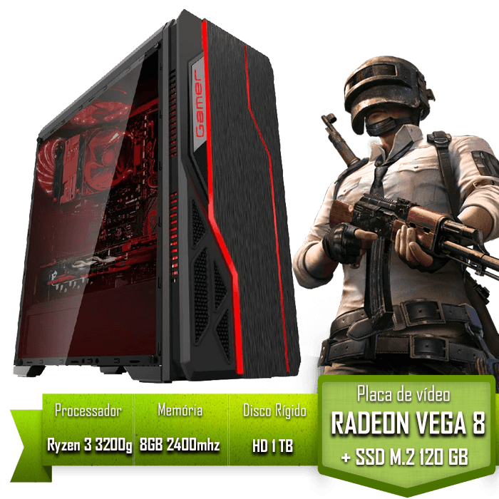 PC GAMER ALLIGATOR GAMING AMD RYZEN 3 3200G / PLACA MÃE B450 / 8GB 2400MHZ / SSD 120GB M.2 /HD 1TB
