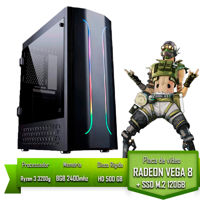 PC GAMER ALLIGATOR GAMING AMD RYZEN 3 3200G / 8GB 2400MHZ / SSD 120GB M.2 /HD 500GB / VEGA 8