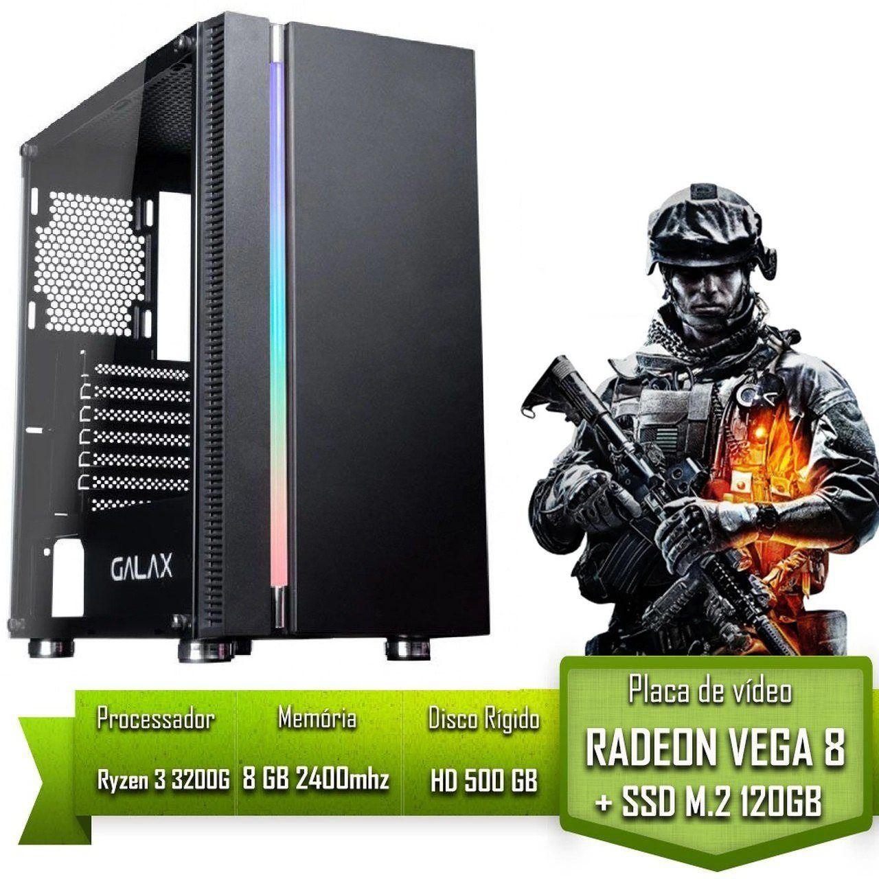 PC GAMER ALLIGATOR GAMING AMD RYZEN 3 3200G / 8GB 2400MHZ / SSD 120GB M.2 /HD 500GB / VEGA 8