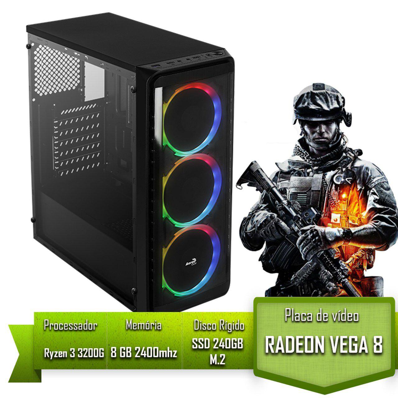 PC GAMER ALLIGATOR GAMING AMD RYZEN 3 3200G / 8GB 2400MHZ /SSD 240GB M.2 / VEGA 8