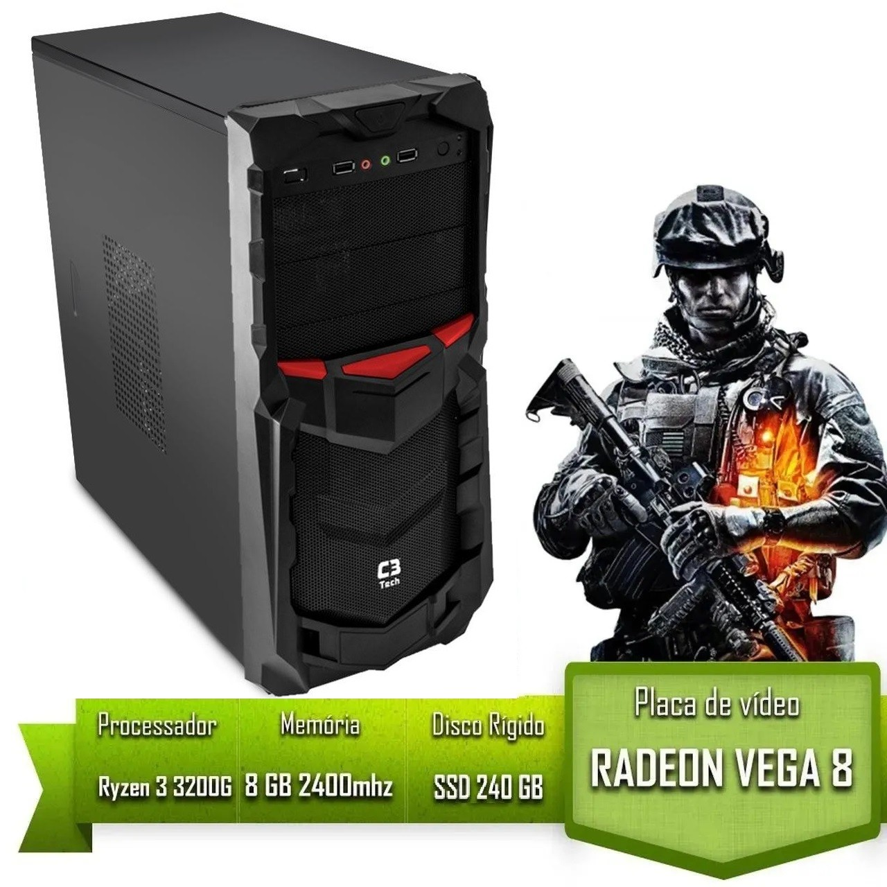 Pc Gamer Alligator Gaming AMD Ryzen 3 3200G / 8GB 2400MHZ /SSD 240GB / VEGA 8