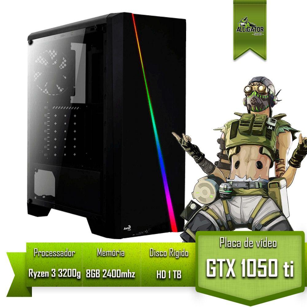 Pc Gamer Alligator Gaming AMD Ryzen 3 3200g / GTX 1050 Ti 4GB / 8GB 2400mhz / HD 1Tb