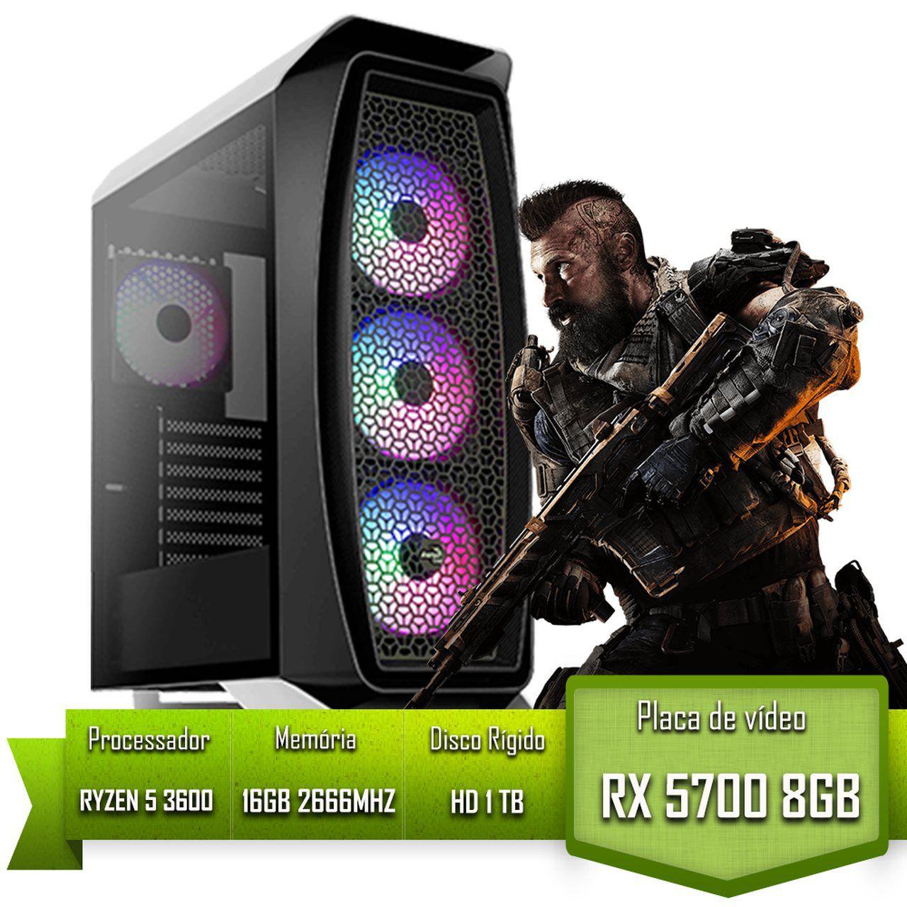 PC GAMER ALLIGATOR GAMING AMD RYZEN 5 3600 /  RX 5700 8GB / DDR4 16GB /HD 1TB