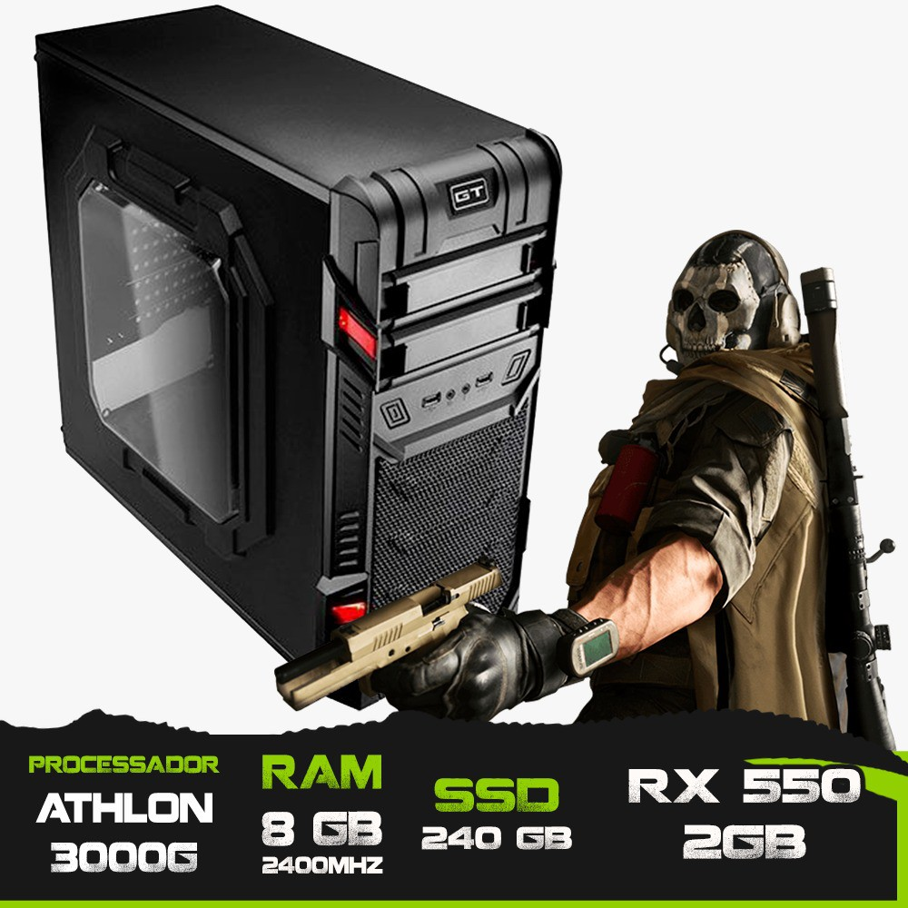 PC GAMER ALLIGATOR GAMING ATHLON 3000G / RX 550 2GB / 8GB MEM / SSD 240GB