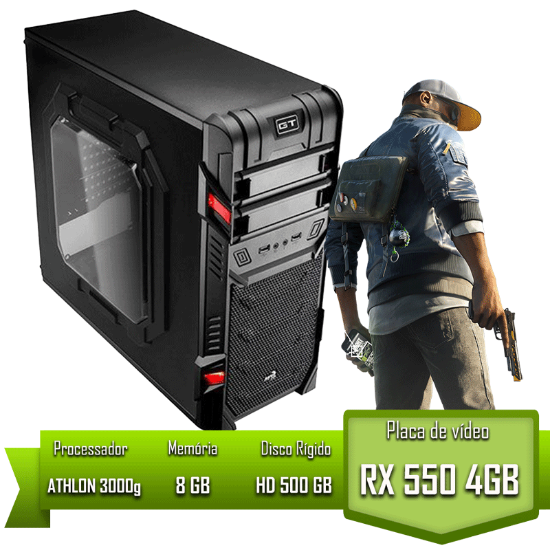PC GAMER ALLIGATOR GAMING ATHLON 3000G / RX 550 4GB / 8GB MEM / HD 500GB