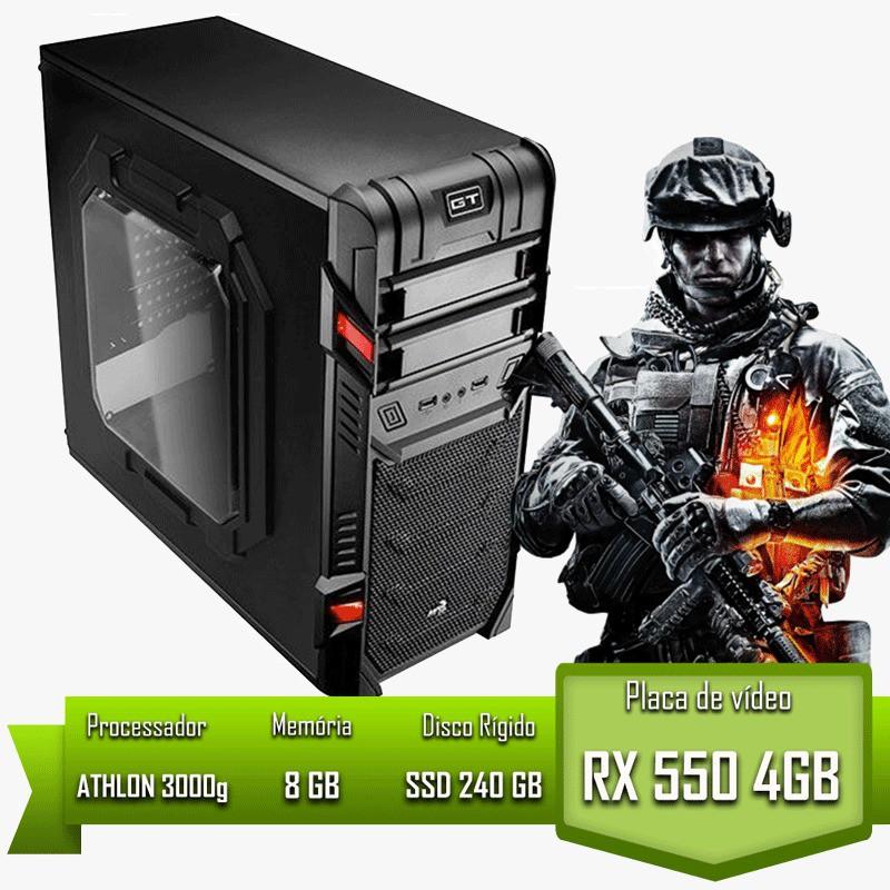 PC GAMER ALLIGATOR GAMING ATHLON 3000G / RX 550 4GB / 8GB MEM / SSD 240GB