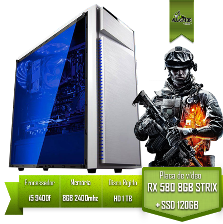 Pc Gamer Alligator Gaming i5 9400f /H310 Pro M2 / RX 580 STRIX 8Gb / SSD 120gb /HD 1Tb