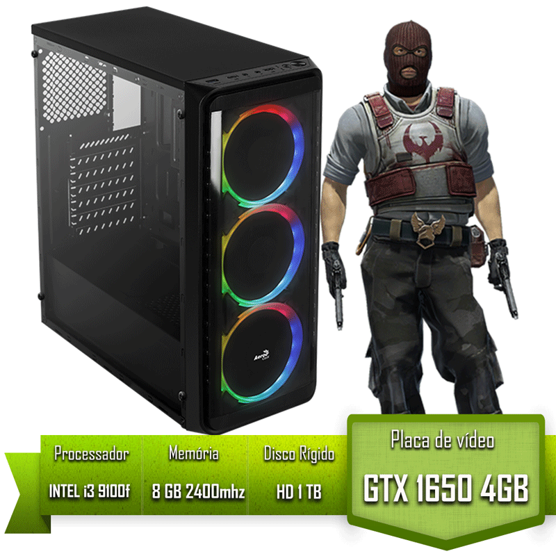 PC GAMER ALLIGATOR GAMING INTEL I3 9100F / GTX 1650 4GB / MEMÓRIA 8GB / HD 1TB
