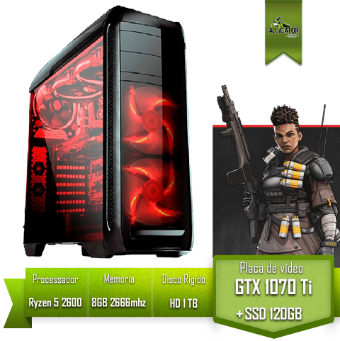 PC Gamer Alligator Pro Ryzen 5 2600/ B450 PRIME/ 8 GB 2666mhz/ GTX 1070 Ti/ SSD 120GB/ HD 1TB