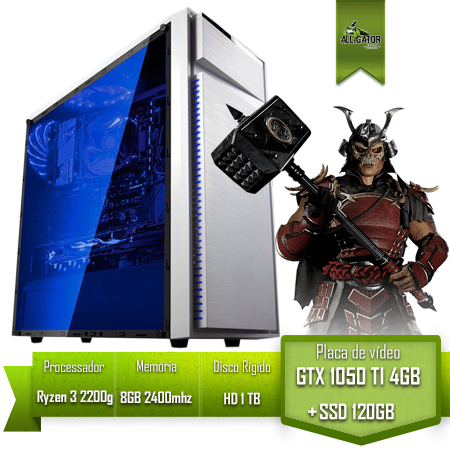 Pc Gamer Alligator Start Ryzen 3 2200g / A320 DGS / GTX 1050 Ti 4Gb /8Gb  2400Mhz / SSD 120Gb / HD 1Tb