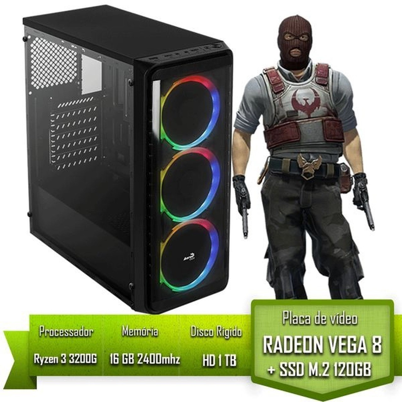 PC GAMER AMD RYZEN 3 3200G / 16GB 2400MHZ / SSD 120GB M.2 /HD 1TB