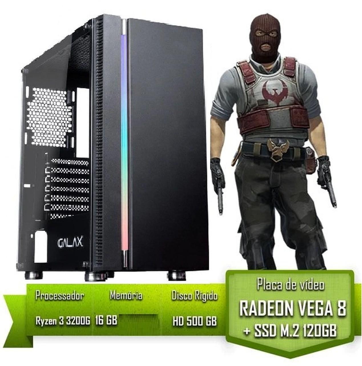 PC GAMER AMD RYZEN 3 3200G / 16GB 3000MHZ / SSD 120GB M.2 /HD 500GB