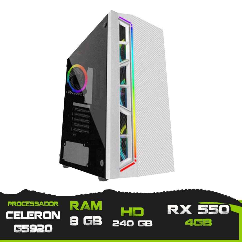 Pc Gamer Celeron G5920 / Memória 8GB / SSD 240GB / RX 550 4GB
