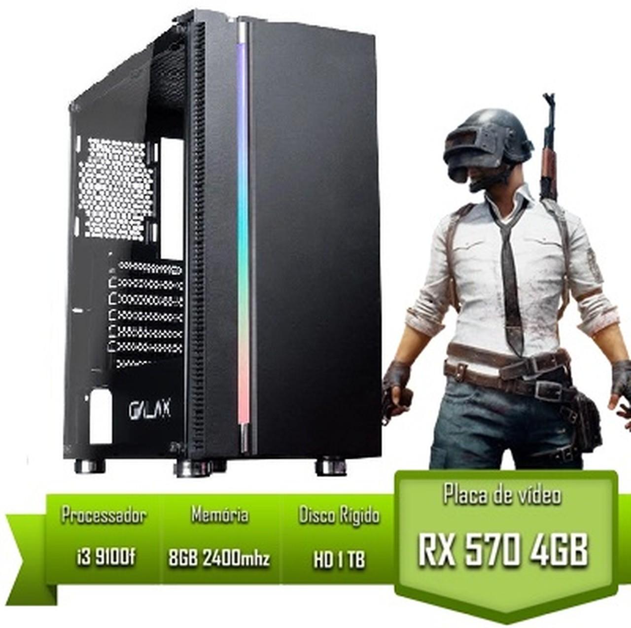 PC Gamer Intel i3 9100f / RX 570 4GB / 8GB 2400mhz / HD 1Tb