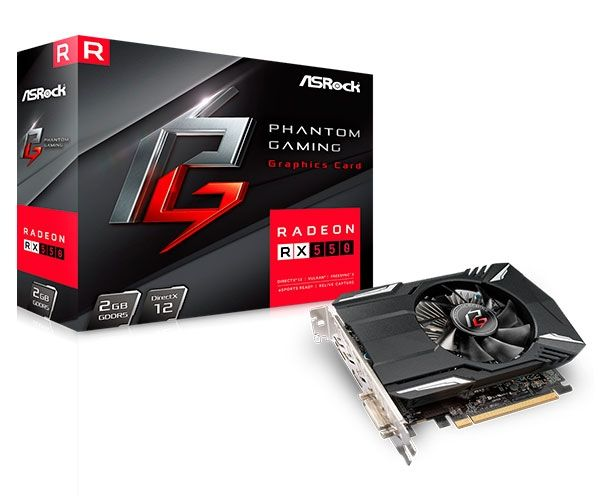 PLACA DE VIDEO ASROCK PHANTOM GAMING RADEON RX 550 2GB GDDR5 128-BIT 90-GA0500-00UANF