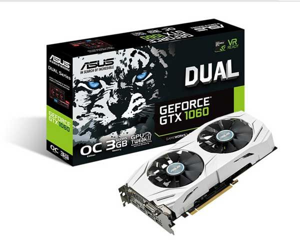 PLACA DE VIDEO ASUS GEFORCE GTX 1060 DUAL OC 3GB GDDR5 192-BIT DUAL-GTX1060-O3G