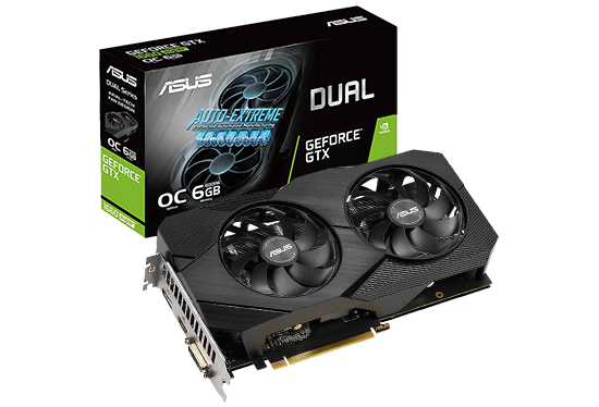PLACA DE VIDEO ASUS GEFORCE GTX 1660 EVO 6GB DDR5 192BITS - DUAL-GTX1660-O6G-EVO