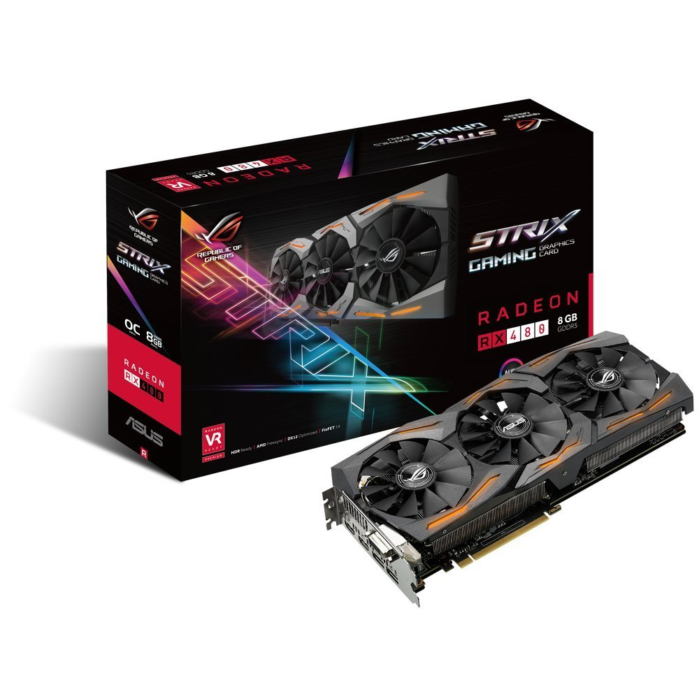 Placa de Vídeo Asus ROG RX 480 Strix 8gb
