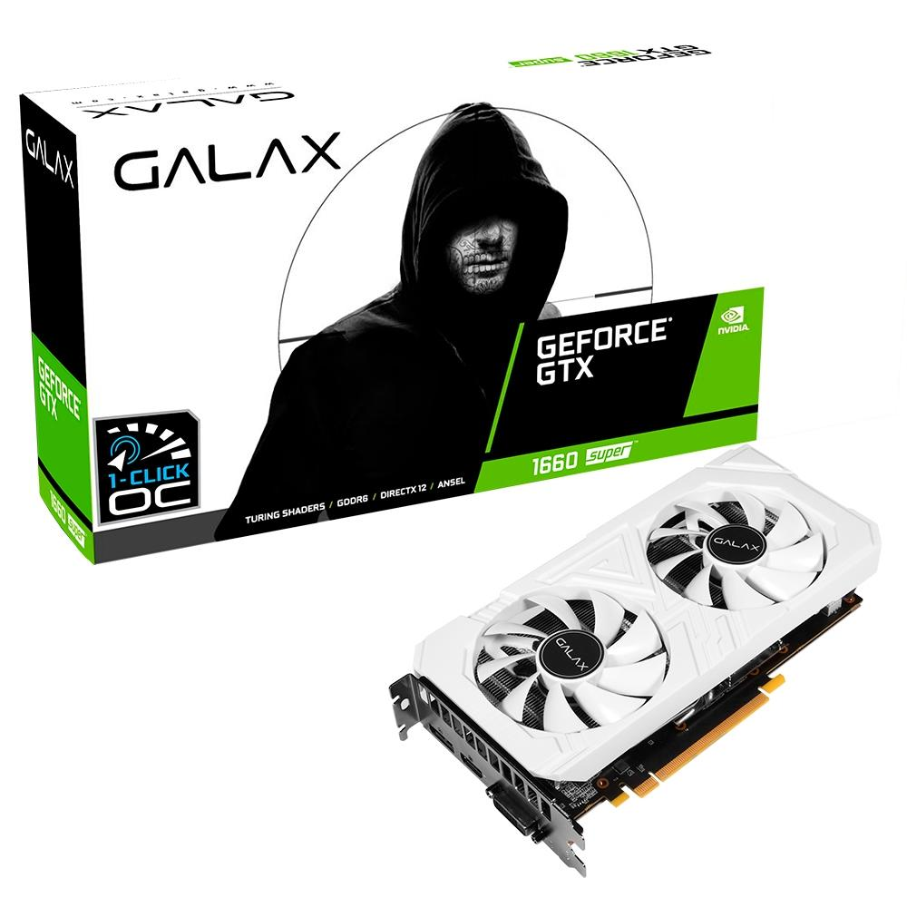 PLACA DE VIDEO GALAX GEFORCE GTX 1660 6GB SUPER EX WHITE 1CLICK OC G6 192B GALAX 60SRL7DS04WS