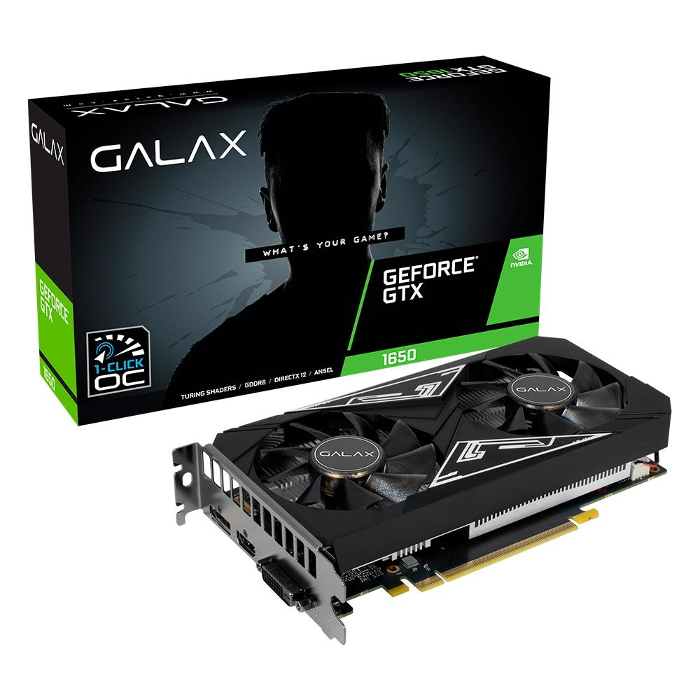 Placa de Vídeo Galax GeForce GTX 1650 EX PLUS 4GB 1-Click OC GDDR6 128-bit 65SQL8DS93E1