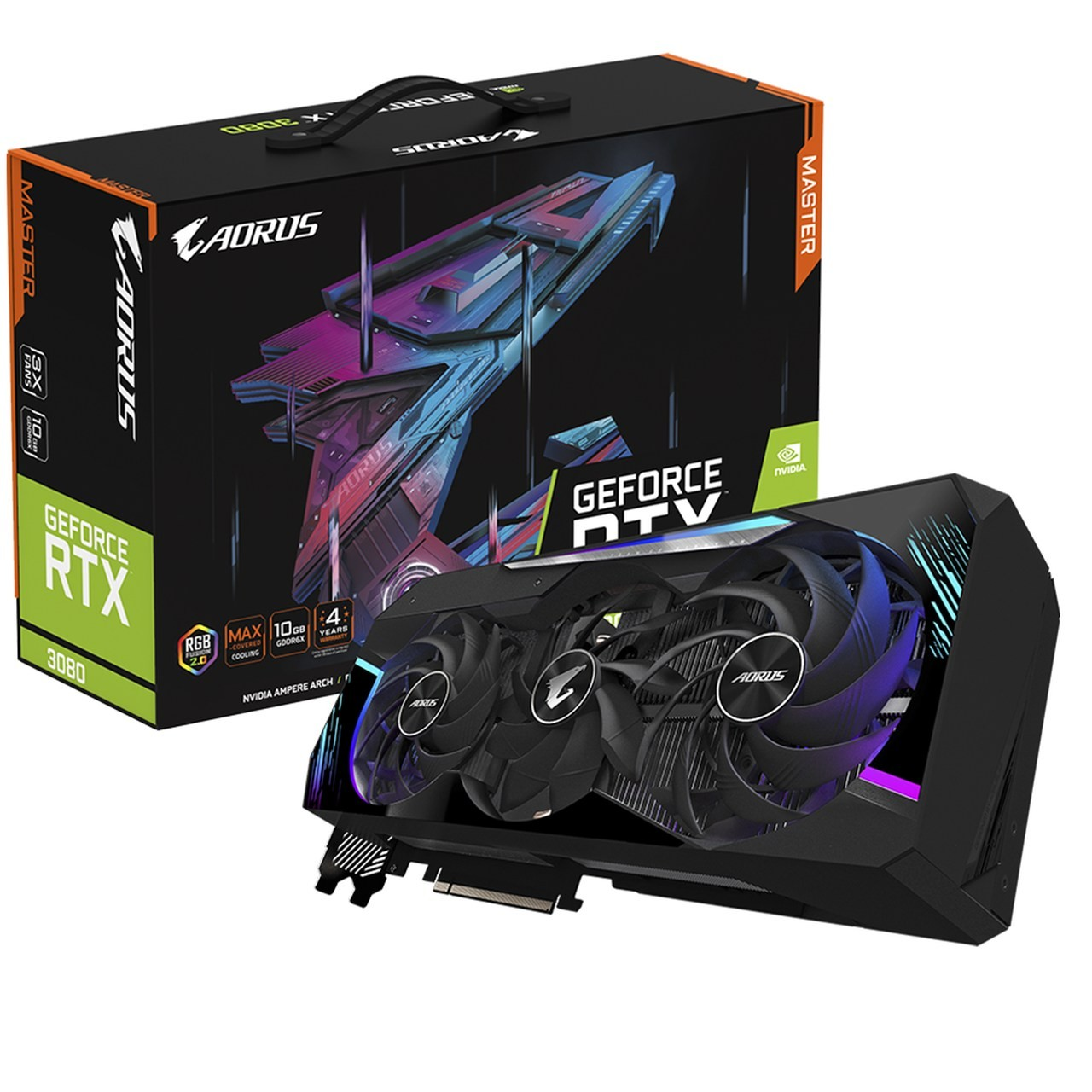 Placa de Video Gigabyte AORUS GeForce RTX 3080 MASTER 10G 10GB GDDR6X 320-bit - GV-N3080AORUS M-10GD