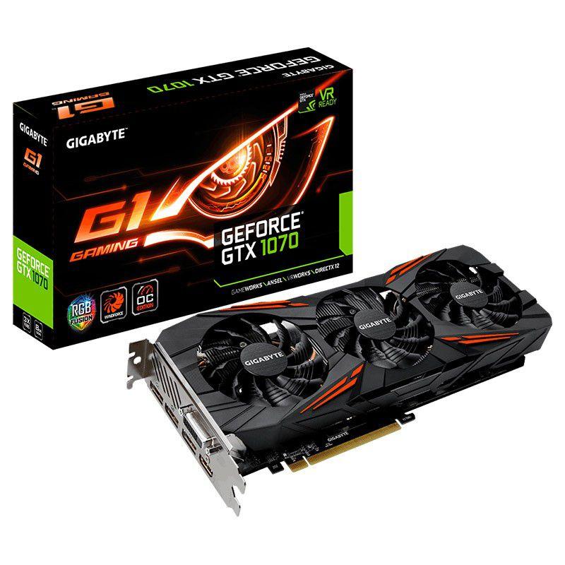 PLACA DE VÍDEO GIGABYTE GEFORCE GTX 1070 G1 GAMING 8GB GDDR5 256BIT