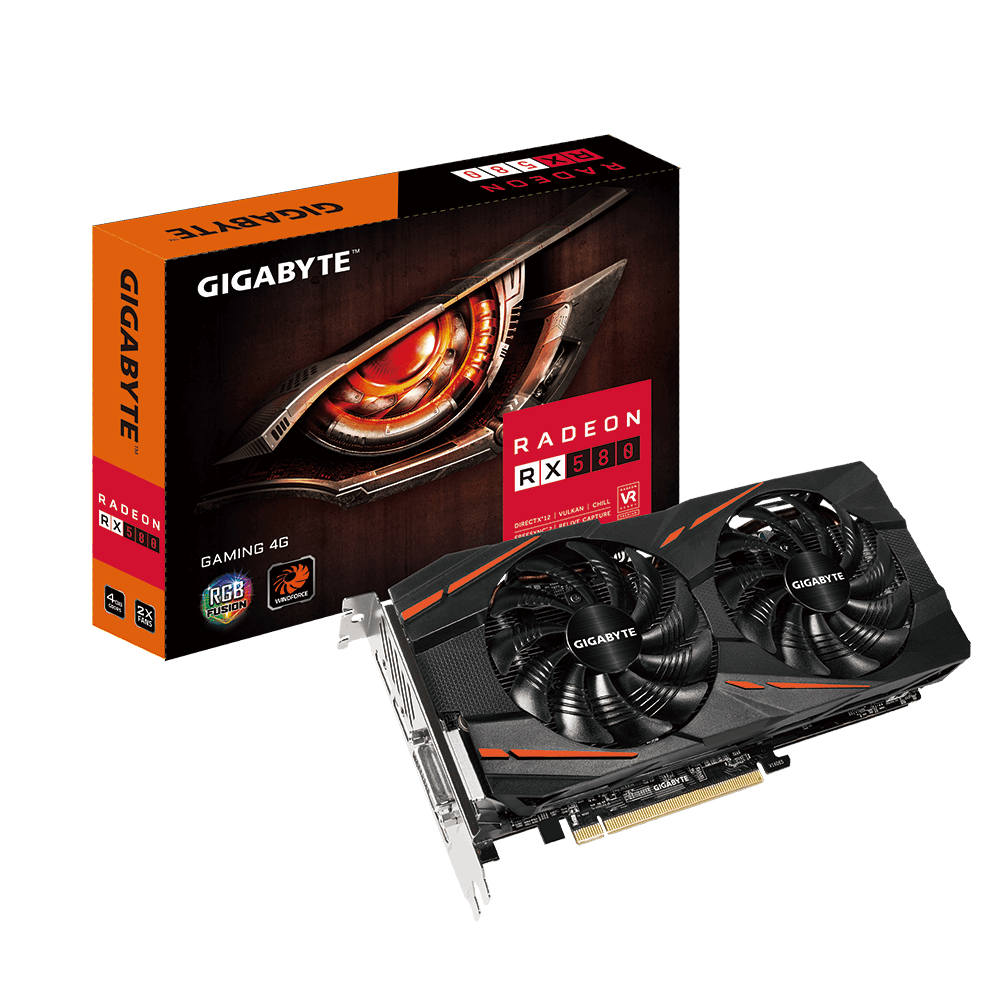 PLACA DE VIDEO RX 580 DUAL 4GB GIGABYTE RADEON GAMING  GDDR5 256BIT