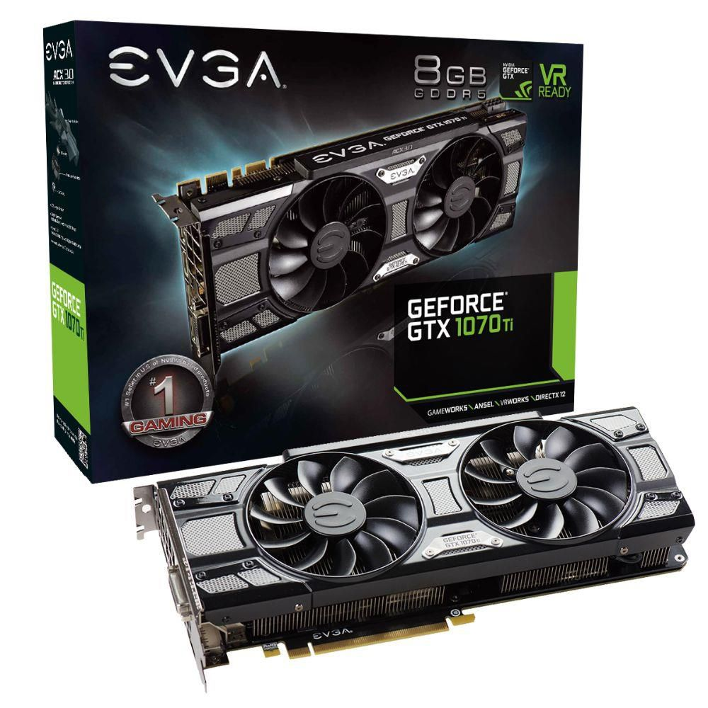Placa de Vídeo VGA EVGA GeForce GTX 1070 Ti SC 8GB ACX3.0 GDDR5
