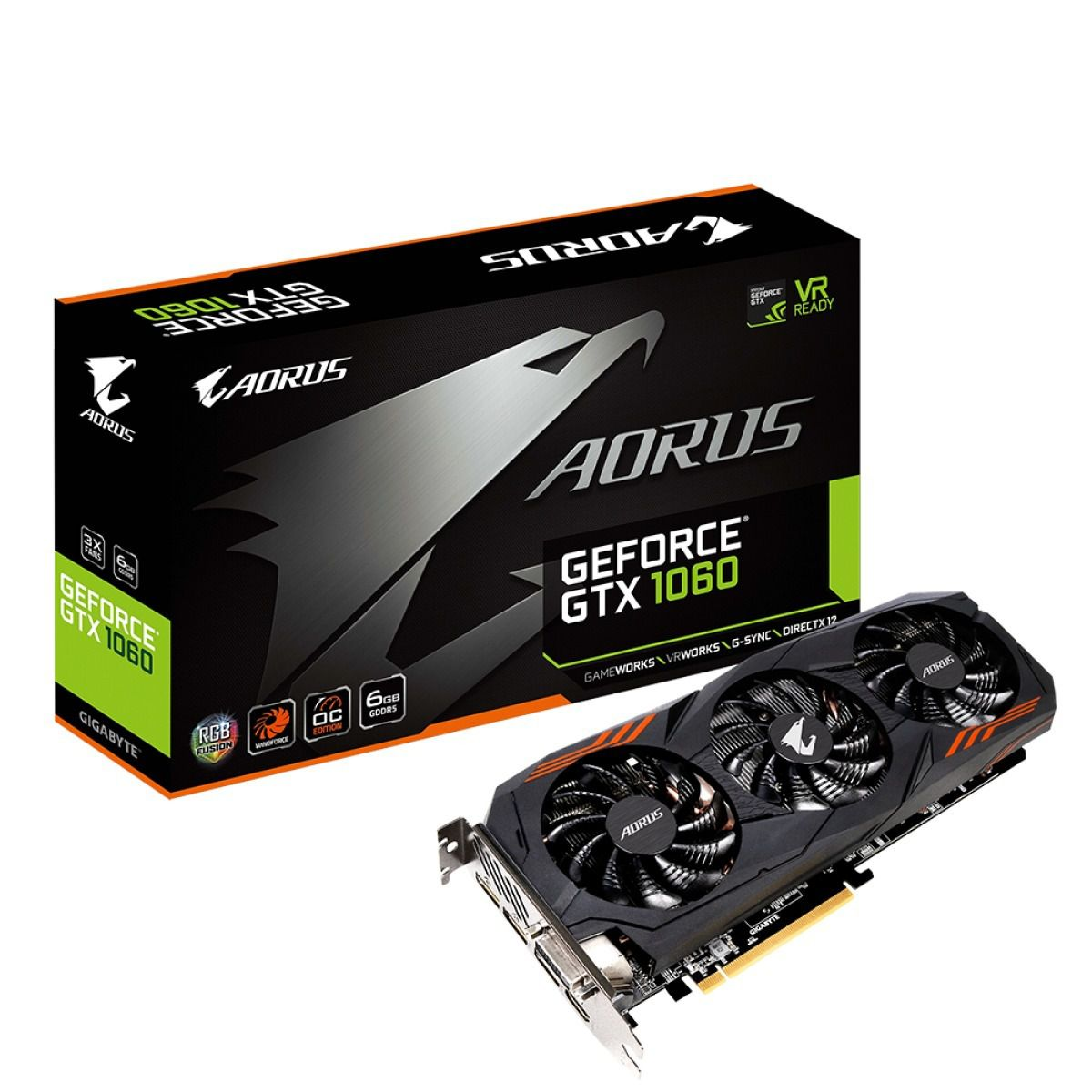 Placa de Vídeo VGA Gigabyte GeForce GTX 1060 6gb AORUS WINDFORCE 3X RGB