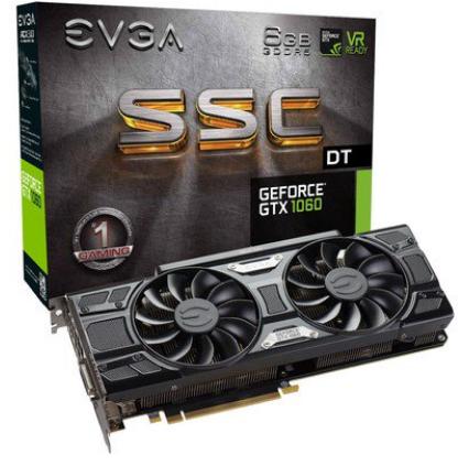 Placa de Vídeo VGA NVIDIA EVGA GEFORCE GTX 1060 ACX 6GB GDDR5 192Bits 06G-P4-6265-KR