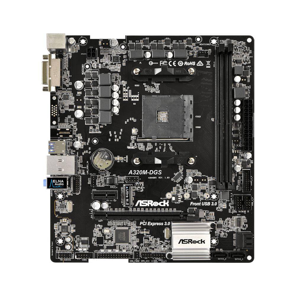 PLACA MÃE ASROCK A320M-DGS SOCKET AM4 CHIPSET AMD A320