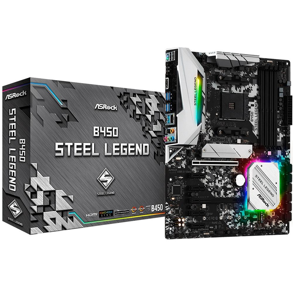 PLACA MAE ASROCK B450 STEEL LEGEND DDR4 SOCKET AM4 CHIPSET AMD B450