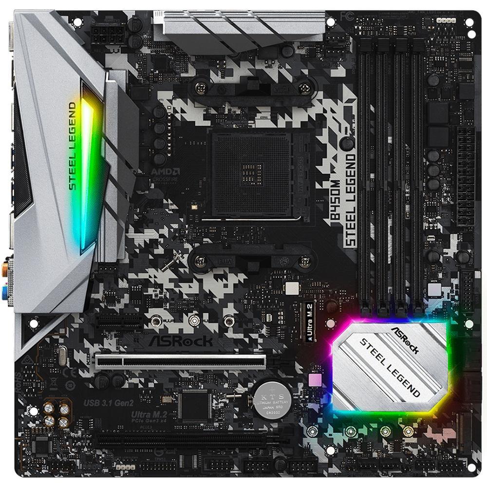 Placa Mae Asrock B450M Steel Legend DDR4 Socket AM4 Chipset AMD B450