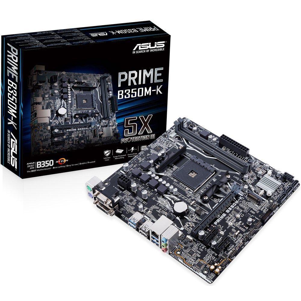 PLACA MÃE ASUS PRIME B350M-K, SOCKET AM4 CHIPSET AMD B350