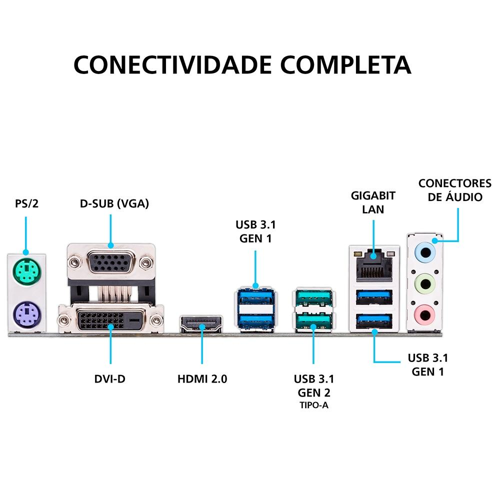 Placa Mae Asus Prime B450M-Gaming/BR DDR4 Socket AM4 Chipset AMD B450