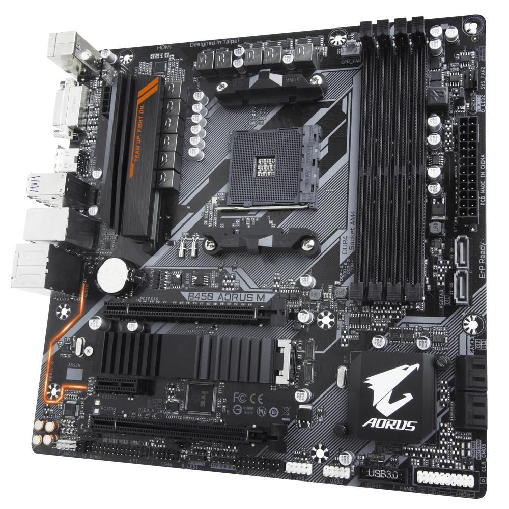 PLACA MAE GIGABYTE B450 AORUS M DDR4 SOCKET AM4 CHIPSET AMD B450
