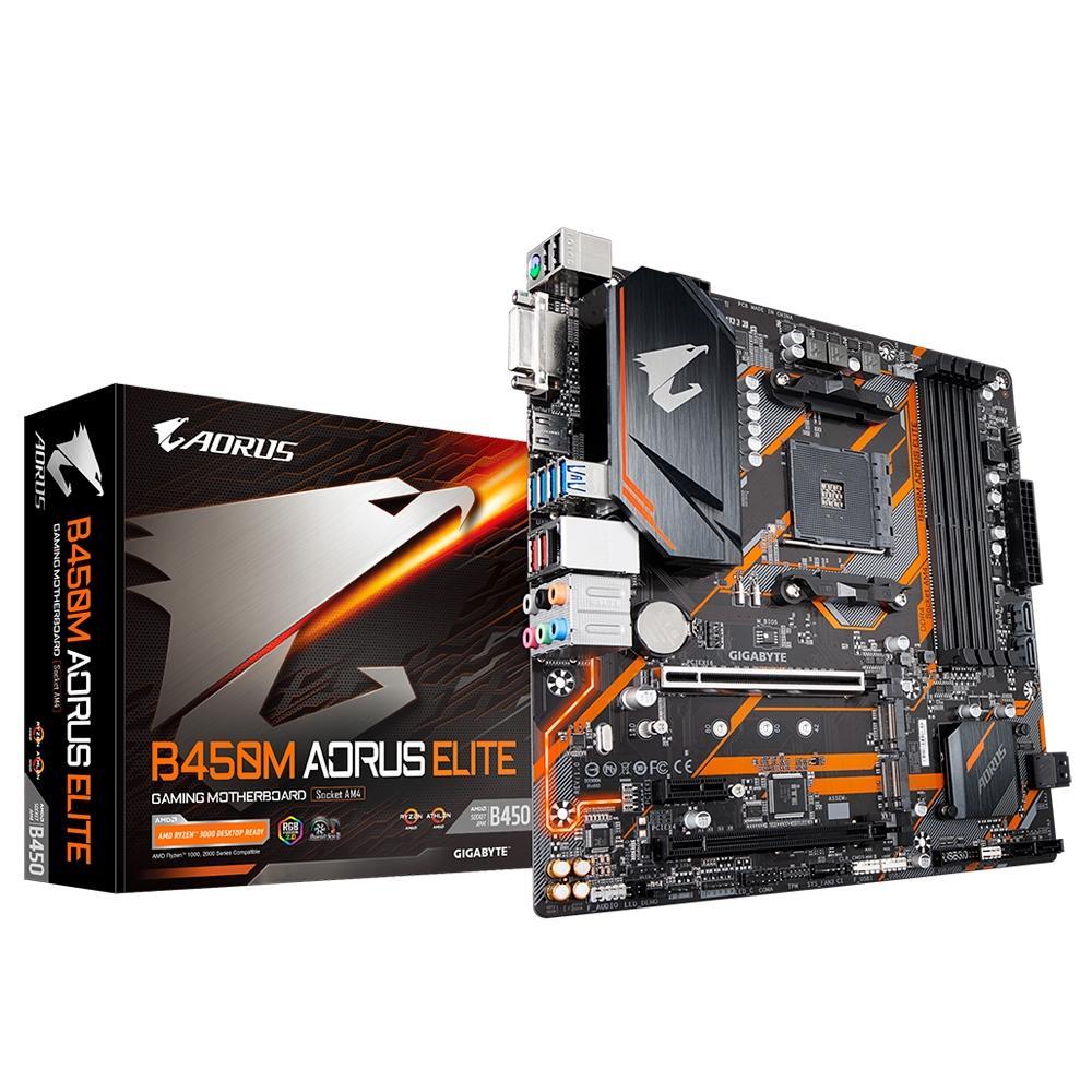 Placa Mãe Gigabyte B450M Aorus Elite Chipset B450 AMD AM4 mATX, DDR4